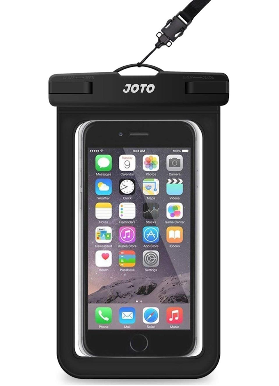 """<p>If they're going on an outdoor adventure, this <a href=""""https://www.popsugar.com/buy/Joto-Universal-Waterproof-Cellphone-Pouch-376792?p_name=Joto%20Universal%20Waterproof%20Cellphone%20Pouch&retailer=amazon.com&pid=376792&price=6&evar1=geek%3Aus&evar9=42811495&evar98=https%3A%2F%2Fwww.popsugar.com%2Fnews%2Fphoto-gallery%2F42811495%2Fimage%2F46721301%2FJoto-Universal-Waterproof-Cellphone-Pouch&list1=gifts%2Cgift%20guide%2Cgifts%20for%20men%2Cgifts%20under%20%24100%2Cgifts%20under%20%2450%2Cgifts%20under%20%2475&prop13=api&pdata=1"""" class=""""link rapid-noclick-resp"""" rel=""""nofollow noopener"""" target=""""_blank"""" data-ylk=""""slk:Joto Universal Waterproof Cellphone Pouch"""">Joto Universal Waterproof Cellphone Pouch</a> ($6) will come in handy. </p>"""