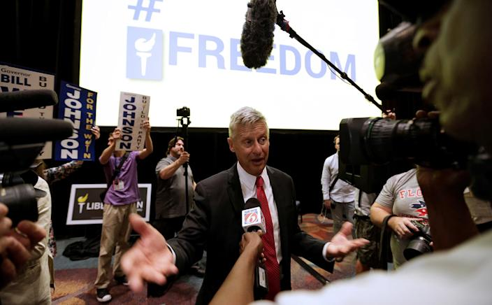 Libertarian Party presidential candidate Gary Johnson talks to the media after receiving the party's nomination on May 29. (Photo: Kevin Kolczynski/Reuters)