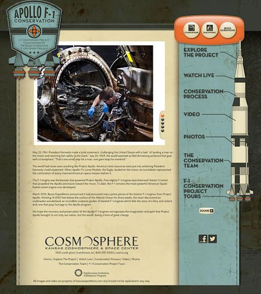The Apollo F-1 Conservation website (pictured above) offers live viewing of the Kansas Cosmosphere and Space Center's efforts to preserve the historic rocket engine components recovered off the ocean floor by Amazon.com CEO Jeff Bezos.