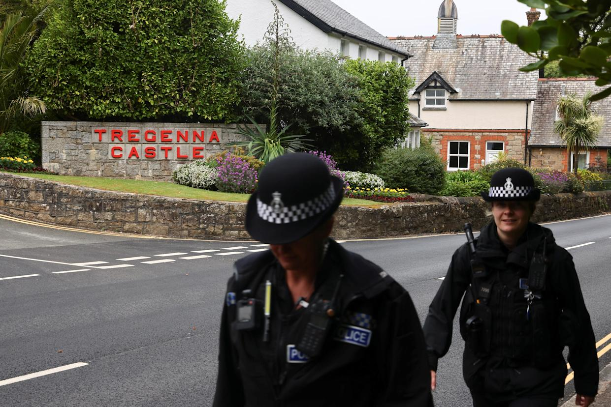Police officers walk past Tregenna Castle ahead of the G7 summit, in Carbis Bay, Cornwall, Britain, June 5, 2021. REUTERS/Tom Nicholson
