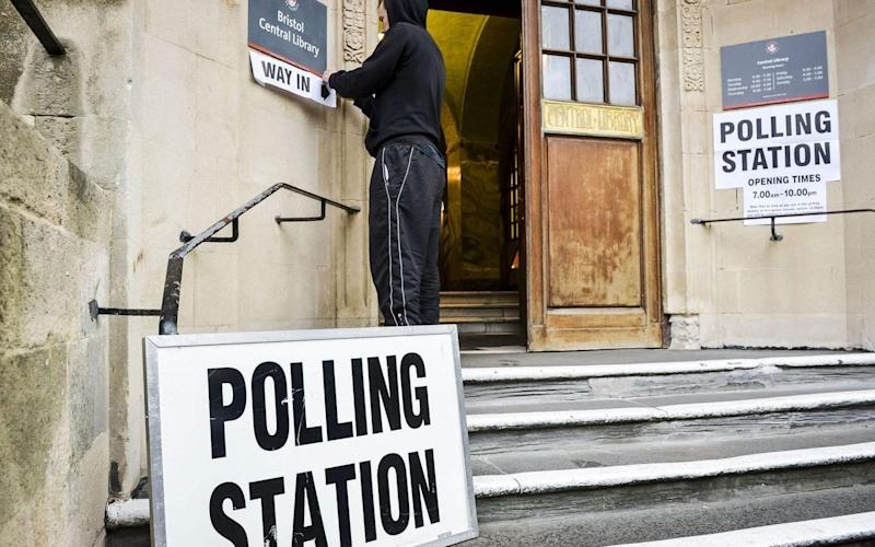 A voting station is set up ahead of polling day