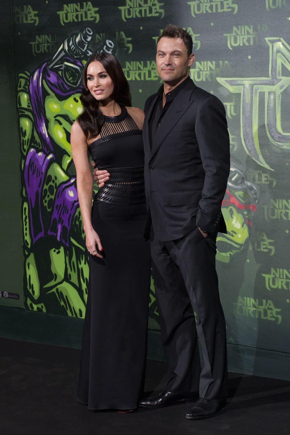 <p>The actor wore a black David Koma SS14 gown to the premiere, which she attended with her ex Brian Austin Green. </p>