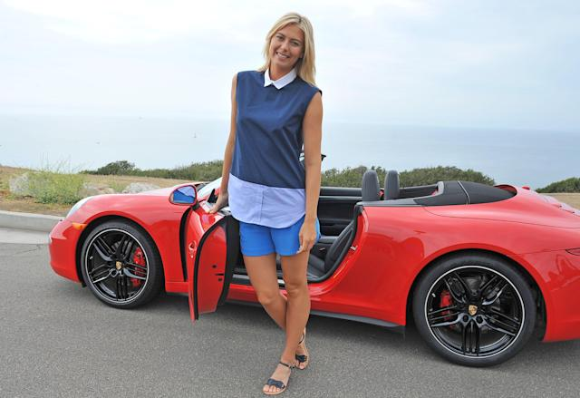MANHATTAN BEACH, CA - JULY 11: Professional tennis player Maria Sharapova poses during a Porsche shooting on July 11, 2013 in Manhattan Beach, California. (Photo by Angela Weiss/Getty Images for Porsche)