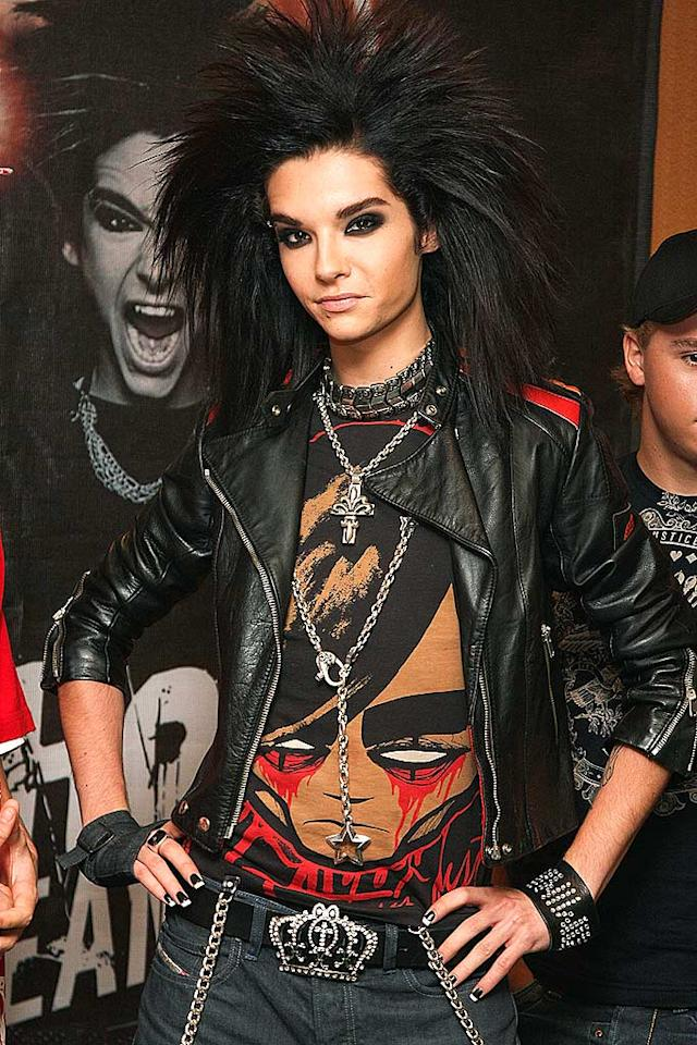 "How much do you think Tokio Hotel lead singer Bill Kaulitz spends per month on Aqua Net Extra Superhold hairspray? We're guessing millions by the look of that mane! Victor Chavez/<a href=""http://www.wireimage.com"" target=""new"">WireImage.com</a> - August 30, 2008"