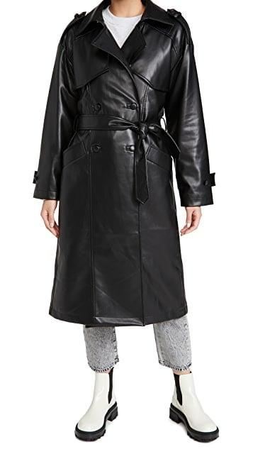 <p>This Faux leather trench adds instant luxe to any look.</p> <p><span>Anine Bing Finley Trench</span> ($699)</p>
