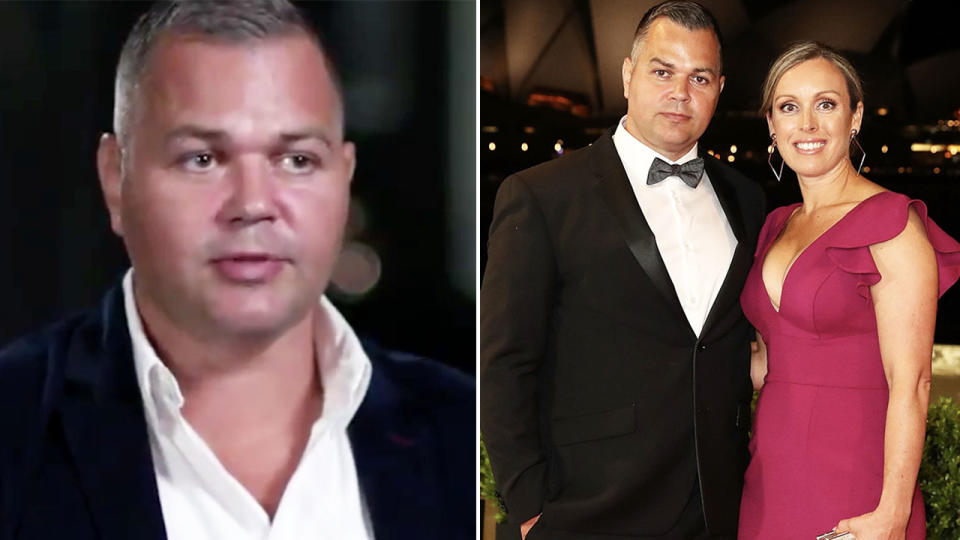 Anthony Seibold, pictured here speaking to Channel Nine about the 'disgusting' rumours.