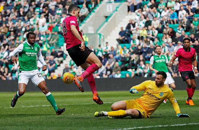 Soccer Football - Scottish Premiership - Hibernian v Celtic - Easter Road, Edinburgh, Britain - April 21, 2018 Hibernian's Ofir Marciano saves a shot from Celtic's Tom Rogic REUTERS/Russell Cheyne