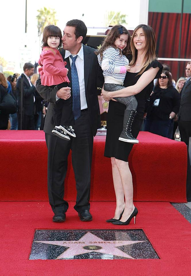 """On Tuesday, Adam Sandler was honored with a star on the Hollywood Walk of Fame as hundreds of fans looked on. The funnyman was joined by his wife Jackie, and his cute daughters Sadie, 4, and Sunny, 2, who stole the show when they interrupted his speech to yell out, """"I love my daddy."""" Always the joker, Sandler fondly ad-libbed, """"Let's hear it for my kids, who are now showing you that I cannot control them."""" Eric Charbonneau/<a href=""""http://www.wireimage.com"""" target=""""new"""">WireImage.com</a> - February 1, 2011"""