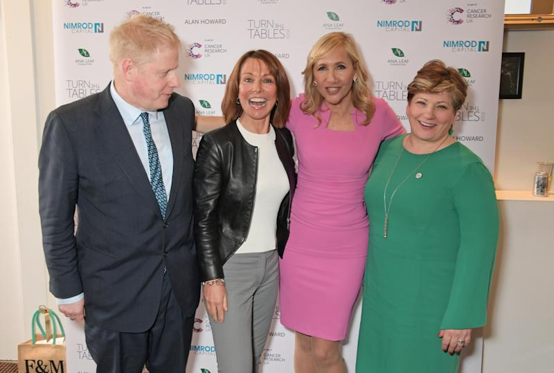 LONDON, ENGLAND - MARCH 04: (L to R) Boris Johnson, Kay Burley, Tania Bryer and Shadow Secretary of State for Foreign and Commonwealth Affairs Emily Thornberry attend Turn The Tables 2019 hosted by Tania Bryer and James Landale in aid of Cancer Research UK at BAFTA on March 4, 2019 in London, England. (Photo by David M. Benett/Dave Benett/Getty Images)