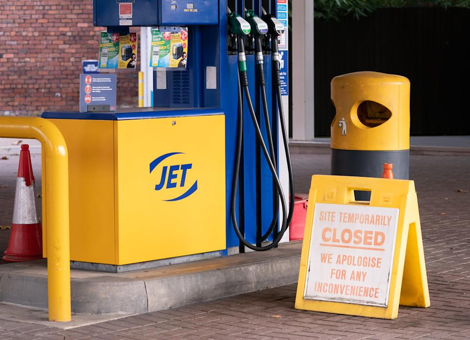 A closed sign on the forecourt of a petrol station in Leeds. Picture date: Tuesday September 28, 2021. (Photo by Danny Lawson/PA Images via Getty Images)