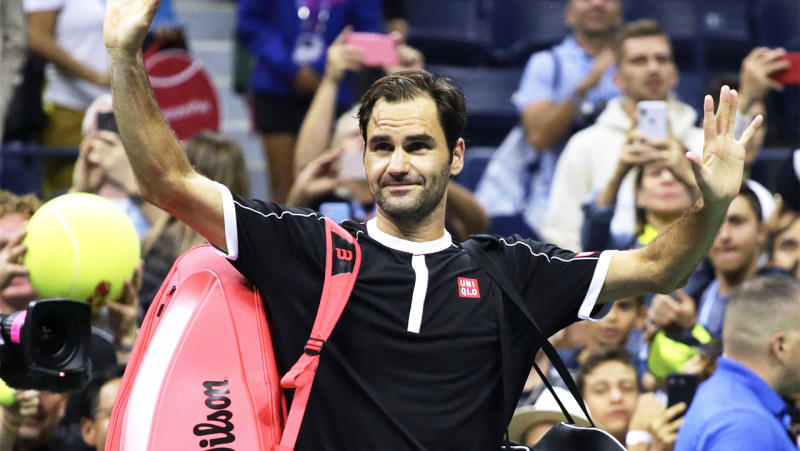 Roger Federer (pictured) waves goodbye to the crowd.