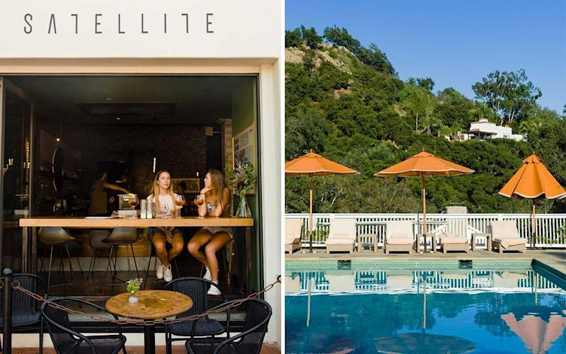 From left: Satellite, part of a three-story co-working space; the pool at San Ysidro Ranch. | Oriana Koren