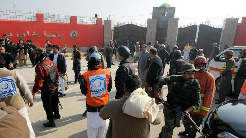 A group of militants have stormed a Pakistan university, killing at least eight people.