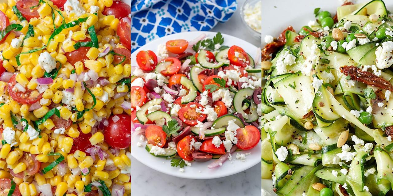 "<p>There's nothing better than looking forward to a freshly prepared, tasty salad for <a href=""https://www.delish.com/uk/cooking/recipes/g29890570/healthy-lunch-ideas/"" target=""_blank"">lunch</a>. Especially a salad that packs in all those beautiful seasonal flavours. So, considering the weather's hotting up and we're all more than happy to spend a little bit more time preparing delicious lunches these days, we've pulled together our favourite summer salads for you to try. Whether you're after a classic <a href=""https://www.delish.com/uk/cooking/recipes/a28839760/best-greek-salad-recipe/"" target=""_blank"">Greek Salad</a>, or something adventurous like our <a href=""https://www.delish.com/uk/cooking/recipes/a32846762/mandarin-orange-salad-recipe/"" target=""_blank"">Mandarin Orange Salad</a>, there's plenty for you to choose from. </p><p><strong><br></strong><strong>P.S.</strong> Our <a href=""https://www.delish.com/uk/cooking/recipes/a32998257/watermelon-salad-feta-mint-recipe/"" target=""_blank"">Watermelon Feta Salad</a> is the epitome of summer! </p>"