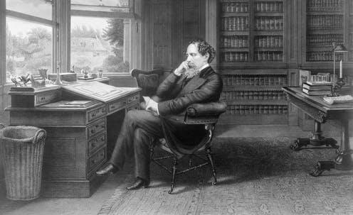 "<span class=""caption"">Charles Dickens in his study at Gads Hill Place, England. Line engraving by Samuel Hollyer, 1875.</span> <span class=""attribution""><a class=""link rapid-noclick-resp"" href=""https://www.shutterstock.com/image-illustration/charles-dickens-18121870-his-study-gads-239399452"" rel=""nofollow noopener"" target=""_blank"" data-ylk=""slk:Shutterstock/EverettCollection"">Shutterstock/EverettCollection</a></span>"