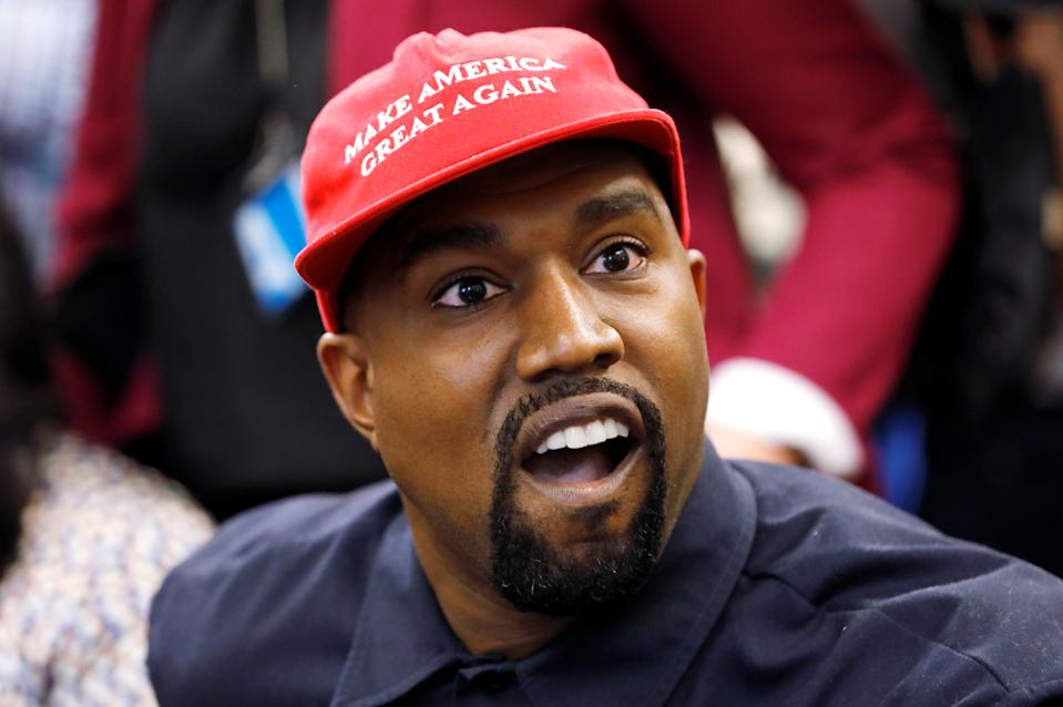 Rapper Kanye West speaks during a meeting with U.S. President Donald Trump in the Oval Office at the White House in Washington, U.S., October 11, 2018. REUTERS/Kevin Lamarque
