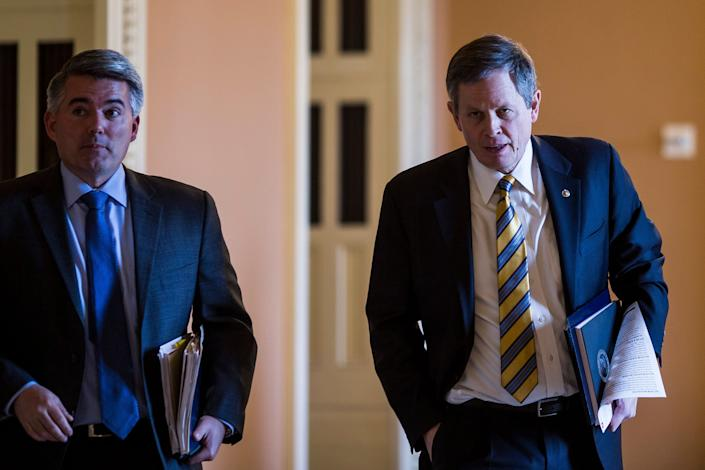 The dilemma facing Gardner (left) over Trump's nomination of William Perry Pendley is shared by Sen. Steve Daines (right), a Montana Republican in a challenging reelection fight. (Photo: Zach Gibson via Getty Images)
