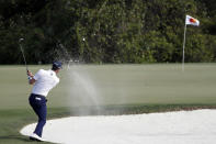 Sam Ryder hits from a bunker to the eighth green during the second round of the Arnold Palmer Invitational golf tournament Friday, March 6, 2020, in Orlando, Fla. (AP Photo/John Raoux)