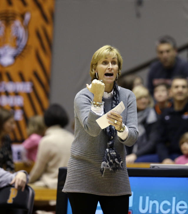 Brown head coach Sarah Behn reacts to play during the second half of an NCAA college basketball game against Princeton Saturday, Feb. 28, 2015, in Princeton, N.J. Princeton won 79-67. (AP Photo/Mel Evans)