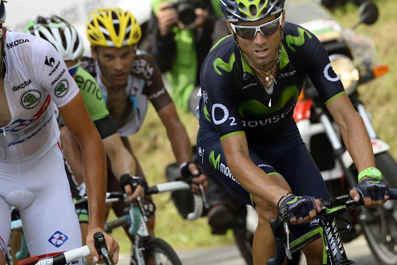 Spain's Alejandro Valverde (R) rides in a breakaway during the the 101st edition of the Tour de France cycling race on July 24, 2014 between Pau and Hautacam, southwestern France