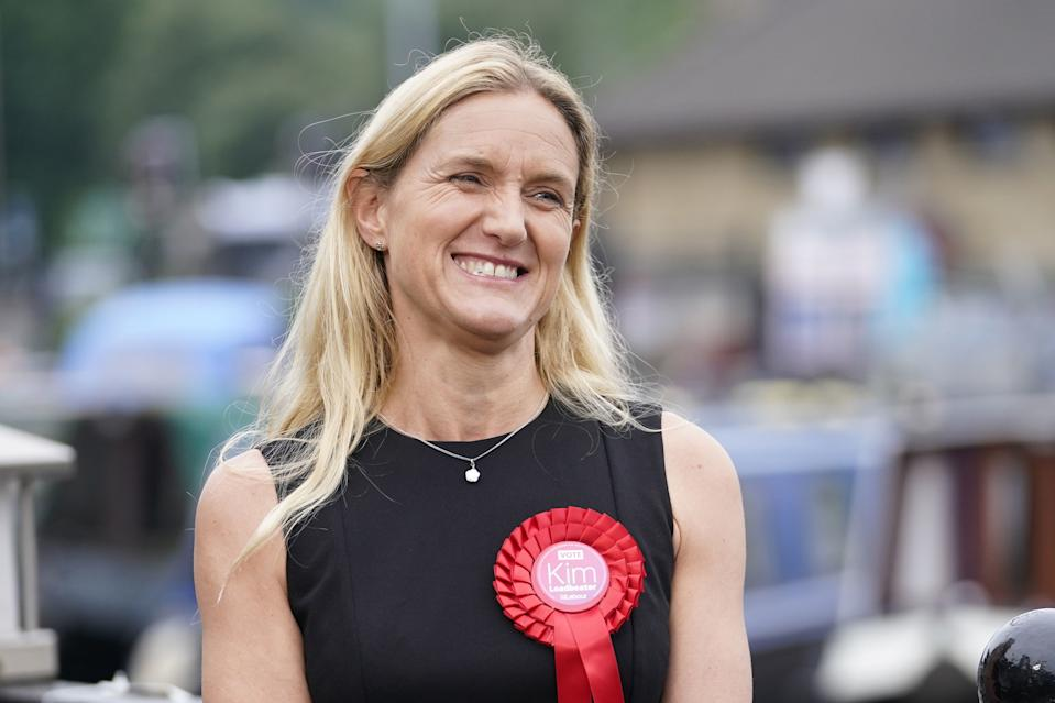 Labour candidate Kim Leadbeater celebrates by a canal in Huddersfield after winning the Batley and Spen by-election. Picture date: Thursday July 1, 2021. PA Photo. See PA story POLITICS BatleyandSpen. Photo credit should read: Danny Lawson/PA Wire