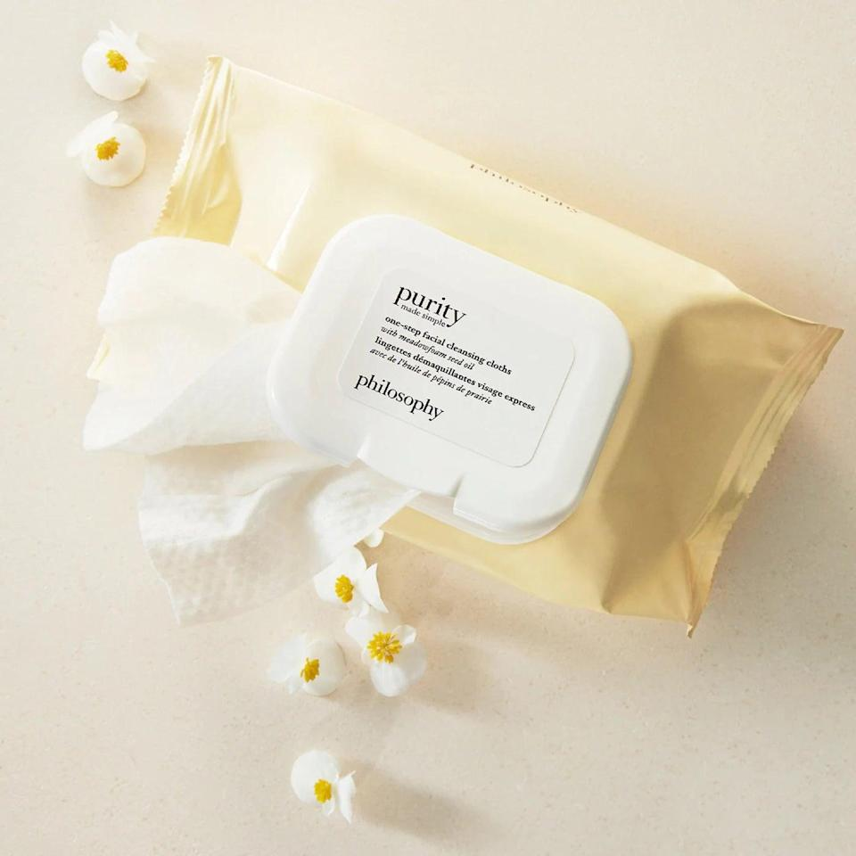 <p>The <span>Philosophy Purity Made Simple One-Step Facial Cleansing Cloths</span> ($16) are basically Philosophy's bestselling cleanser for the ultimate lazy girl. We'll take two.</p>