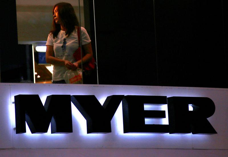 A customer is seen inside a retail store for Australia's Myer Holdings Ltd's in central Sydney