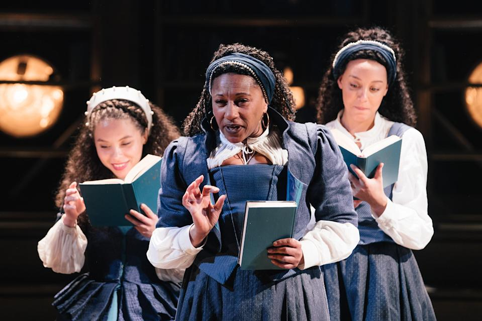 Saffron Coomber, Clare Perkins and Adelle Leonce in EmiliaHelen Murray