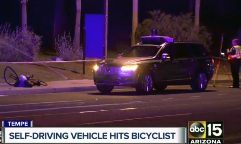 <p> This March 19, 2018 still image taken from video provided by ABC-15, shows investigators at the scene of a fatal accident involving a self driving Uber car on the street in Tempe, Ariz. Police in the city of Tempe said Monday, March 19, 2018, that the vehicle was in autonomous mode with an operator behind the wheel when the woman walking outside of a crosswalk was hit. (ABC-15.com via AP)