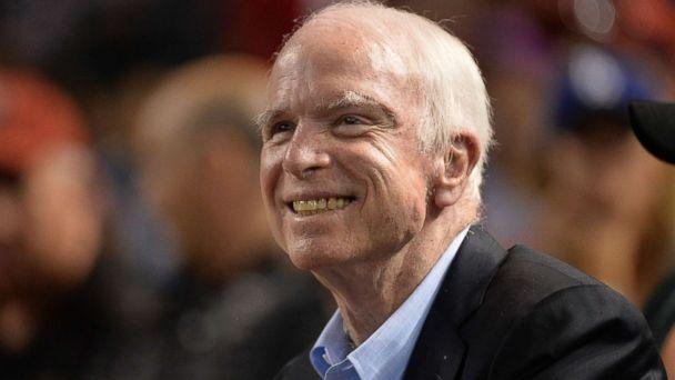 PHOTO: Sen. John McCain smiles while attending a baseball game between the Los Angeles Dodgers and Arizona Diamondbacks at Chase Field on Aug. 10, 2017 in Phoenix. (Jennifer Stewart/Getty Images)