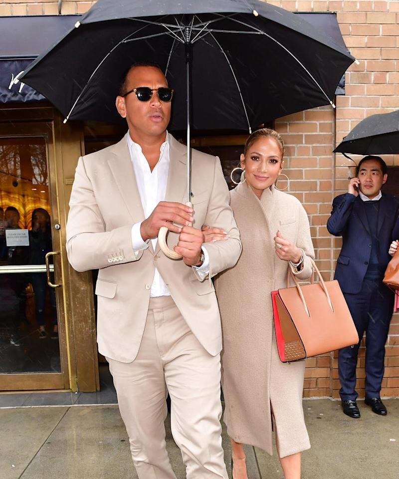<p>In one of their earliest public appearances, the couple was matching in head-to-toe tans. (Photo: Getty Images) </p>