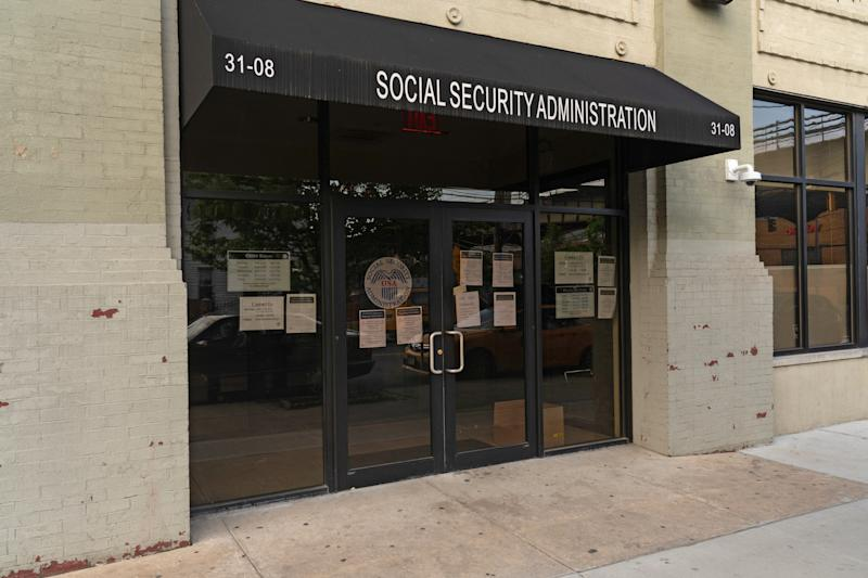 NEW YORK, UNITED STATES - APRIL 16, 2020: A Social Security Administration office in Astoria Queens is pictured closed amid the COVID-19 pandemic in New York City.- PHOTOGRAPH BY Ron Adar / Echoes Wire/ Barcroft Studios / Future Publishing (Photo credit should read Ron Adar / Echoes Wire/Barcroft Media via Getty Images)