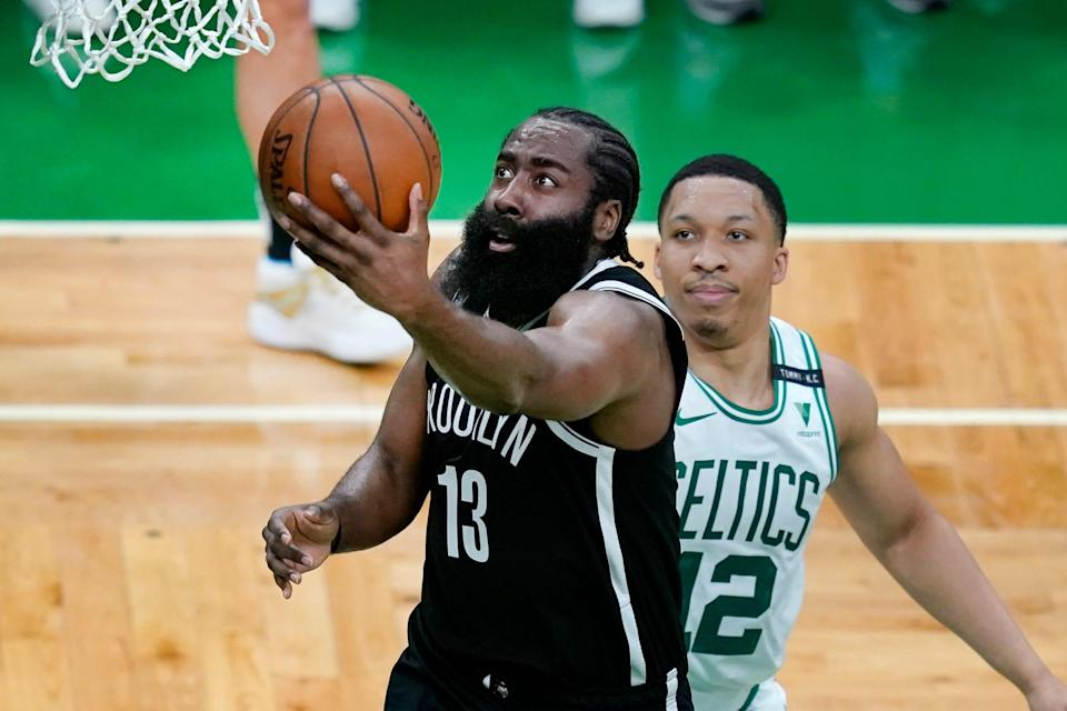 James Harden had 23 points and 18 assists in the Nets' 141-126 win over the Celtics on Sunday.