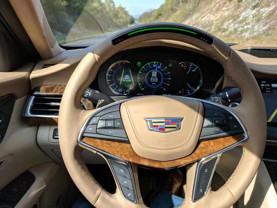 Super Cruise features a green light on the wheel, which lets you know when it's active and safe to use.