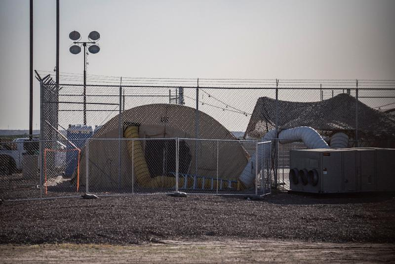 A temporary facility set up to hold migrants at a United States Border Patrol Station in Clint, Texas -- pictured on June 21, 2019