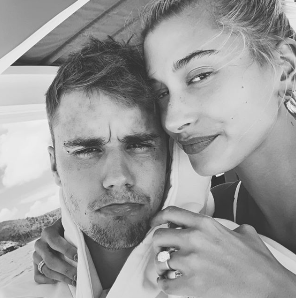 A selfie of Justin Bieber and wife Hailey Baldwin on holiday in 2019.