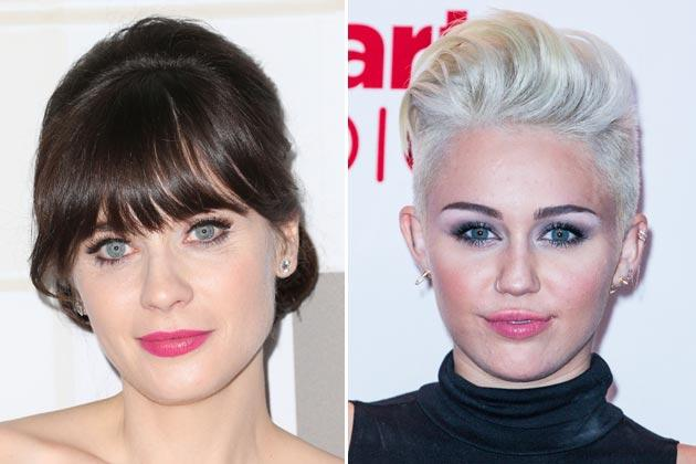 Zooey Deschanel (l.) und Miley Cyrus haben Kulleraugen (Bilder: Getty Images)