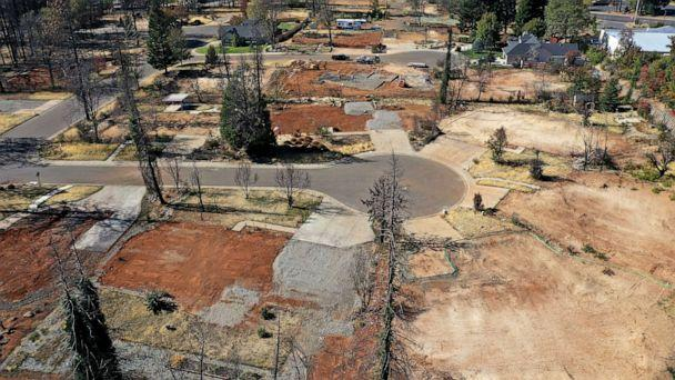 PHOTO: This photo taken on Oct. 21, 2019, shows an aerial view of a neighborhood destroyed by the Camp Fire in Paradise, California. (Justin Sullivan/Getty Images)