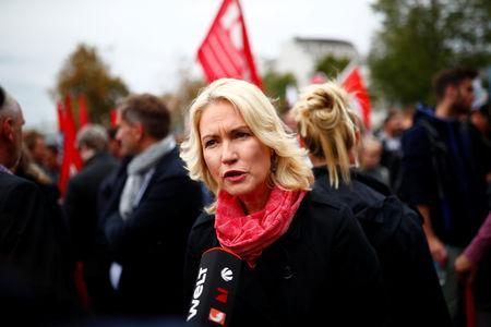Manuela Schwesig of Germany's Social Democratic Party gives an interview during demonstrations following the killing of a German man in Chemnitz, Germany September 1, 2018. REUTERS/Hannibal Hanschke