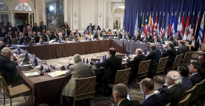 Members of the Rio Treaty organized by the Organization of American States meet to discuss sanctions on Venezuela, Monday Sept. 23, 2019, in New York. (AP Photo/Bebeto Matthews)