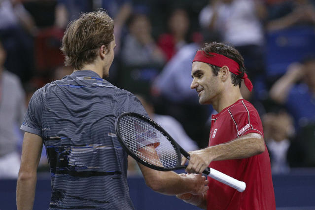 World No. 3 Roger Federer fell to No. 6 Alexander Zverev in the quarterfinals of the Shanghai Masters tennis tournament on Friday. (AP Photo/Andy Wong)