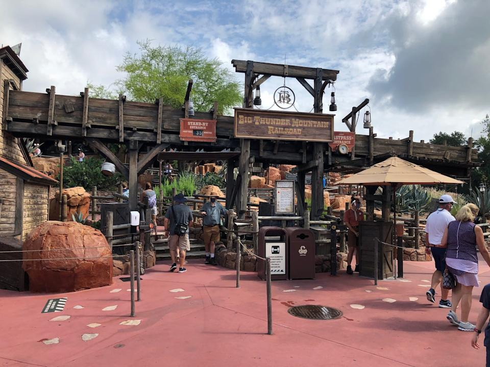 Big Thunder Mountain Railroad's rustic queue has been carved up into a rabbits' warren of plexiglass corridors, preventing guests from making contact as they pass by each other in the switchbacks.