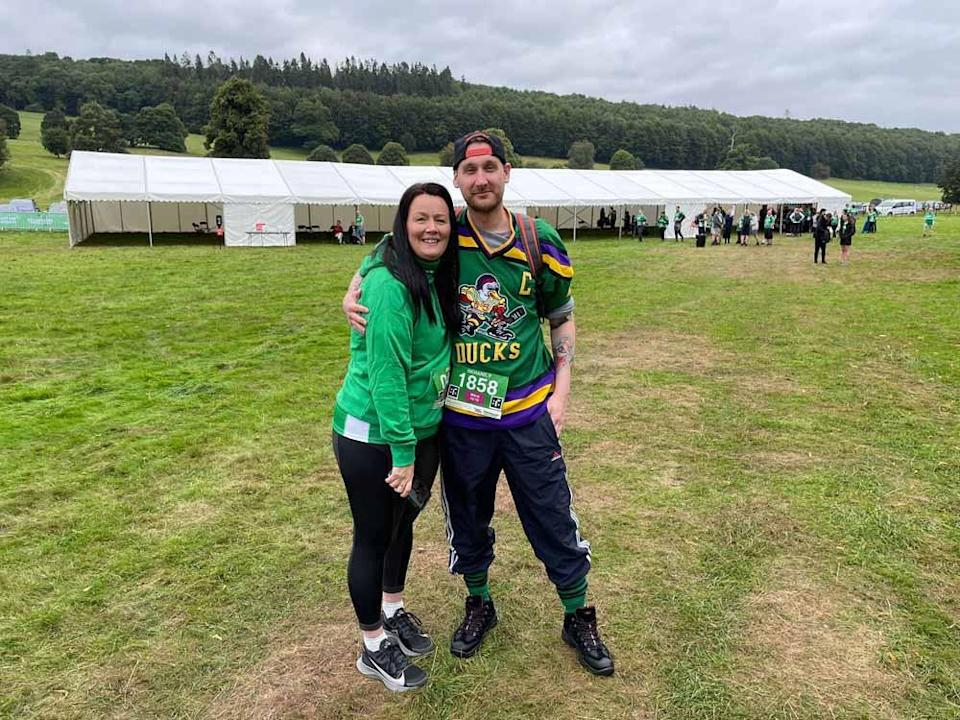 Jemma, pictured with her best friend Richie, who did the Macmillan hike with her, was training for a triathlon when she contracted Covid-19. PA REAL LIFE COLLECT
