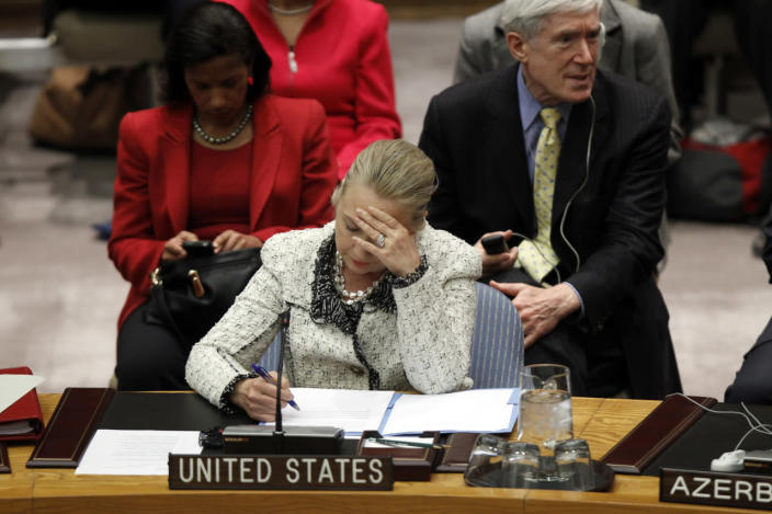 <p>Secretary of State Hillary Clinton attends a U.N. Security Council meeting to discuss Peace and Security in the Middle East during the 67th General Assembly at U.N. headquarters in New York in September 2012. (Photo: Keith Bedford/Reuters)</p>