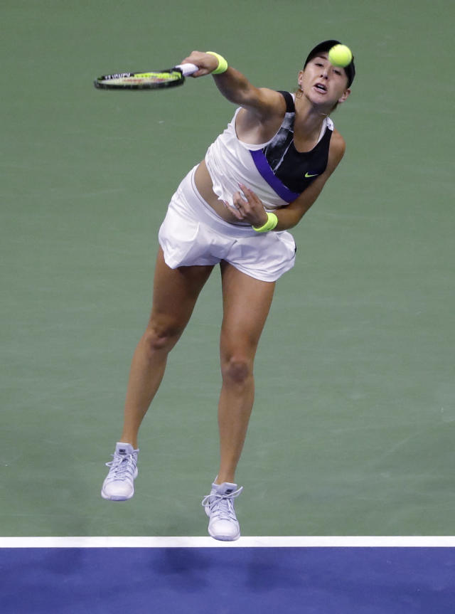 Belinda Bencic, of Switzerland, serves against Naomi Osaka, of Japan, during the fourth round of the US Open tennis championships Monday, Sept. 2, 2019, in New York. (AP Photo/Frank Franklin II)