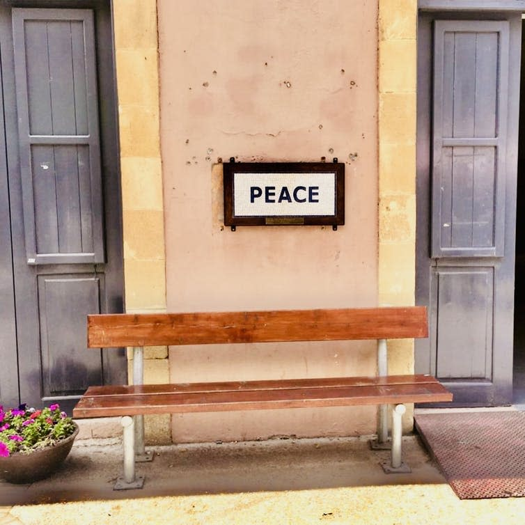 "<span class=""caption"">Peace bench on Ledras Street, Nicosia, Cyprus.</span> <span class=""attribution""><span class=""source"">Author provided</span>, <a class=""link rapid-noclick-resp"" href=""http://creativecommons.org/licenses/by-nc-nd/4.0/"" rel=""nofollow noopener"" target=""_blank"" data-ylk=""slk:CC BY-NC-ND"">CC BY-NC-ND</a></span>"