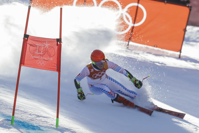 Mikaela Shiffrin, of the United States, attacks the gate during the first run of the Women's Giant Slalom at the 2018 Winter Olympics in Pyeongchang. (AP)