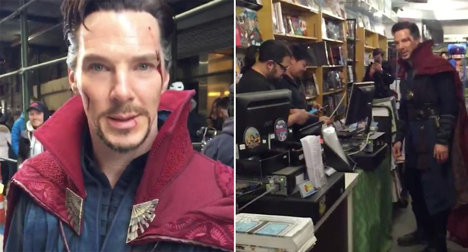 Benedict Cumberbatch visits a comic shop dressed as Doctor Strange. (Twitter/Scott Derrickson)