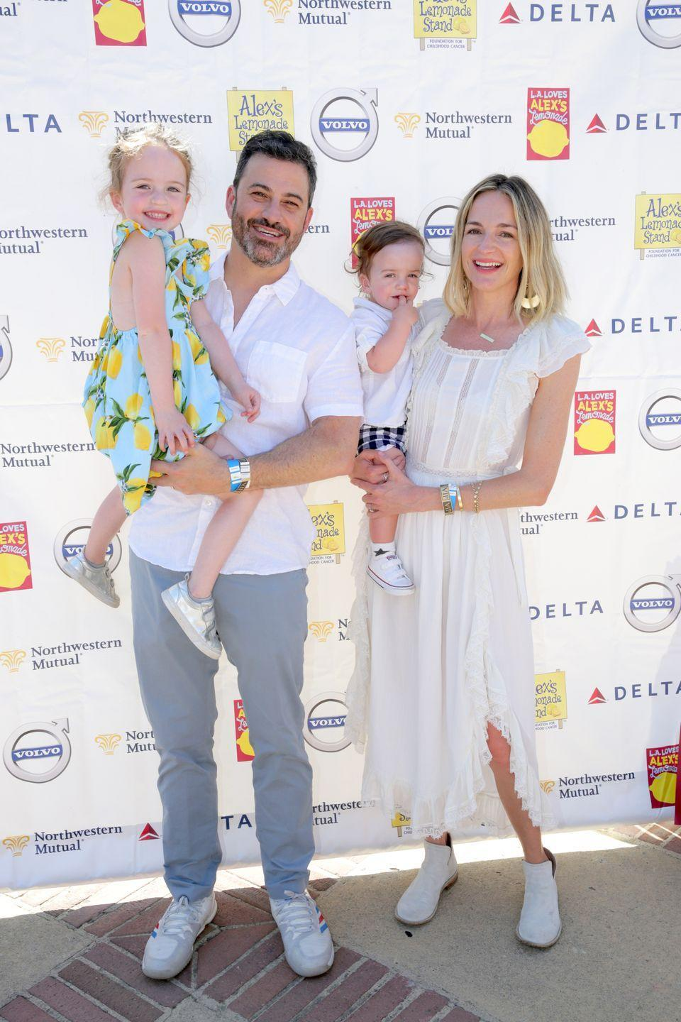 """<p><strong>Children</strong>: Katie Kimmel (29), Kevin Kimmel (26), Jane Kimmel (5), William John Billy Kimmel (3).</p><p>Between <a href=""""https://www.oprahmag.com/entertainment/a23893162/cardi-b-jimmy-kimmel-daughter-birth/"""" rel=""""nofollow noopener"""" target=""""_blank"""" data-ylk=""""slk:hosting famous stars like Cardi B"""" class=""""link rapid-noclick-resp"""">hosting famous stars like Cardi B</a>, <a href=""""https://www.oprahmag.com/entertainment/a27569119/halle-berry-kisses-lena-waithe-jimmy-kimmel-live/"""" rel=""""nofollow noopener"""" target=""""_blank"""" data-ylk=""""slk:Halle Berry and Lena Waithe"""" class=""""link rapid-noclick-resp"""">Halle Berry and Lena Waithe</a> on his late-night show, the 52-year-old comedian has two adult children with his ex-wife Gina Maddy, as well as a young daughter and son with current wife Molly McNearney.</p>"""
