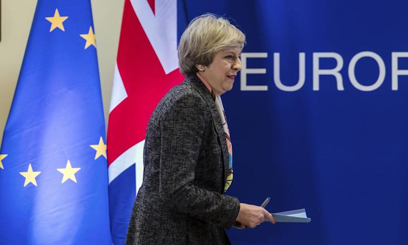Theresa May preparing to address a media conference at an EU summit in Brussels last Thursday.